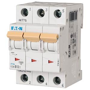 Leitungsschutzschalter, Char. C, 13 A, 3 polig EATON PLSM-C13/3-MW