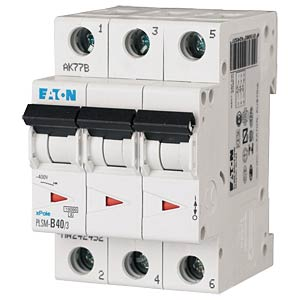 Leitungsschutzschalter, Char. C, 40 A, 3 polig EATON PLSM-C40/3-MW