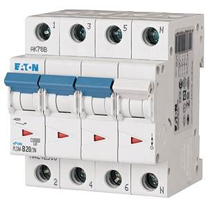 Leitungsschutzschalter, Char. C, 20 A, 3 + N EATON PLSM-C20/3N-MW