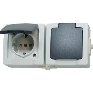 Surface-mounted wet room socket, two-way, horizontal KOPP 1370.5600.2
