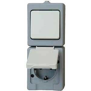 Switch/socket, wet room IP44, grey KOPP 1301.4800.3