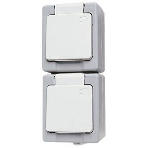 Schutzkontaktsteckdose, IP44, 2-fach-senkr. KOPP 1303.4800.9
