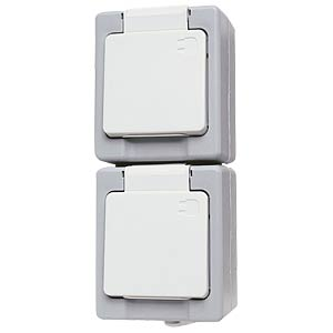 Earthed socket, IP44, two-way vertical KOPP 1303.4800.9