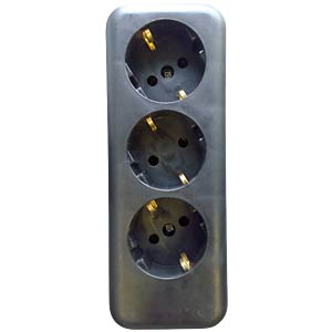 Three-way socket outlet without cable, black KOPP 120305001
