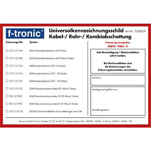 Universal identification label F-TRONIC BSKS