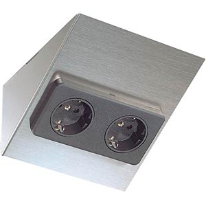 Double socket, stainless steel HEITRONIC 23738