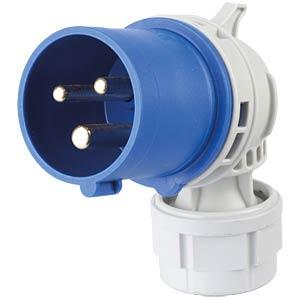 Angled CEE plug, 230 V, 16 A, blue FREI