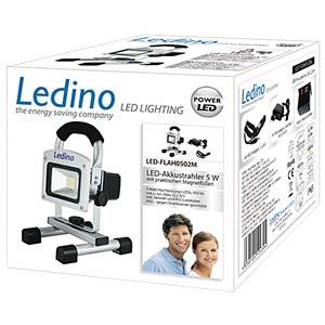 LED Akkustrahler 5W Li-Ion Akku 2.2Ah silber LEDINO LED-FLAH0502M