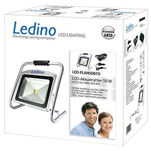 LED battery-powered floodlight, 50 W, Li-ion battery 6,6 Ah, dim LEDINO LED-FLAH5007D