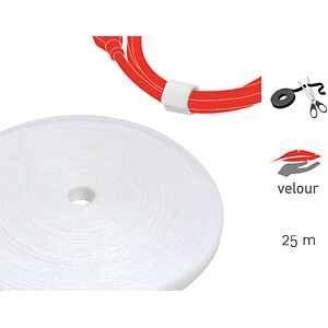 Klettbandrolle Dual, 25m, weiß LABEL THE CABLE PRO 1220