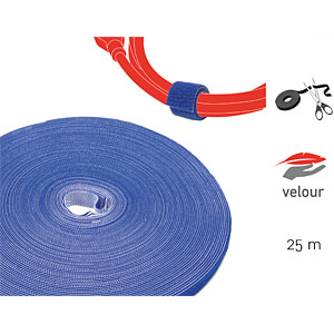 Klettbandrolle Dual, 25m, blau LABEL THE CABLE PRO 1250