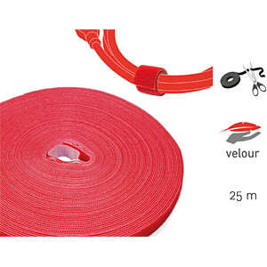 Klettbandrolle Dual, 25m, rot LABEL THE CABLE PRO 1260