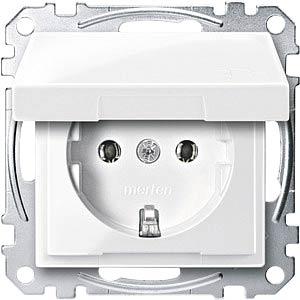 Socket insert with hinged cover — System M, polar white, glossy MERTEN MEG2311-0319