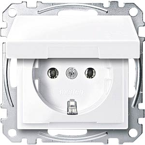 Socket insert with hinged cover — System M, active white, glossy MERTEN MEG2311-0325