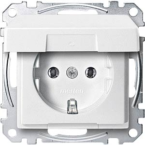 Socket insert with hinged cover — System M, polar white MERTEN MEG2311-0419