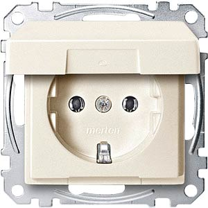 Socket insert with hinged cover — System M, white MERTEN MEG2311-0444
