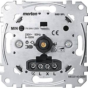 Rotary dimmer insert — for small loads, 9 - 100 W MERTEN MEG5140-0000