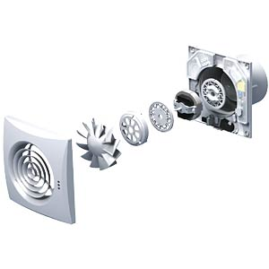 Fan, ball-bearing mounted, low noise, with timer and hygrostat SIKU 30412