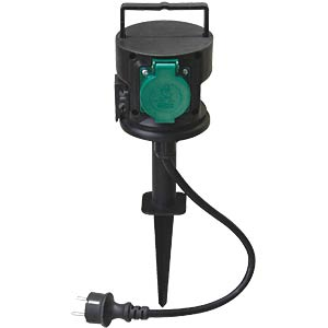 2-socket garden outlet with ground spike TELESOUND 46-31212