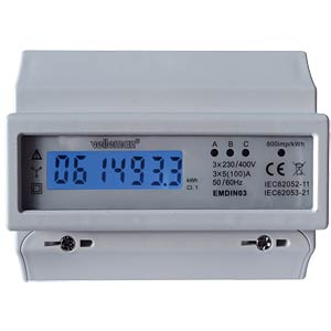 Energy meter, triple-phase, LCD display VELLEMAN EMDIN03