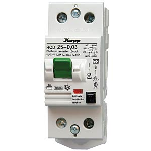 Circuit breaker, 25 A/30 mA, 2-pin KOPP 752528012