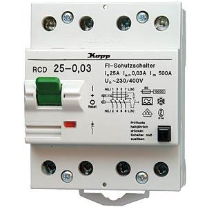Fehlerstromschutz-Schalter, Typ A, 25 A, 300 mA, 4 polig KOPP 752543011