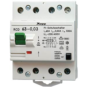 Circuit breaker, 63 A/30 mA, 4-pin KOPP 756348014