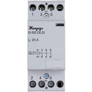 Installation contactor, 25 A, 230 V, 3xNO KOPP 761330011
