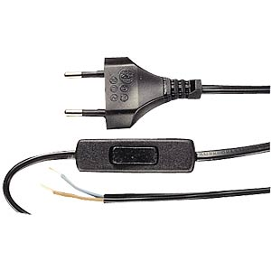 Mains cable with euro plug and switch, 1.5 m, black. FREI