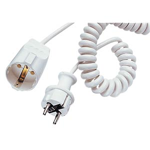 Spiral extension lead, plug/socket, brown FREI