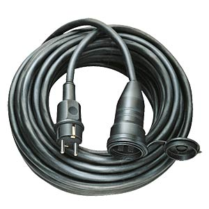 Rubber extension lead, 10 m, black FREI
