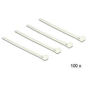 Cable ties releasable white L 150 x W 7.2 mm 100 pieces DELOCK 18638