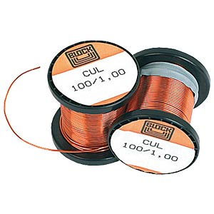 500g enamelled copper wire on coil, Ø 1.00 mm BLOCK TRANSFORMATOREN CUL 500/1,00