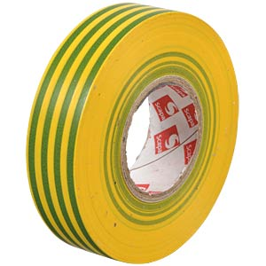 VDE insulating tape, 25 m, width: 19 mm, green/yellow FREI