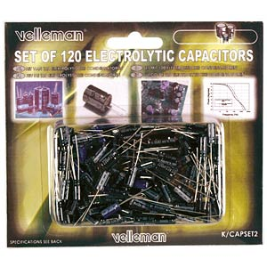 Set: electrolytic capacitors, 120 pieces VELLEMAN K/CAP2