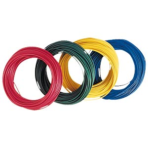 Insulated braided copper wire, 10 m, 1 x 0.14 mm, blue FREI
