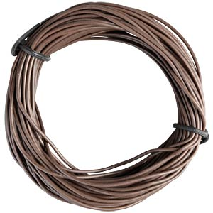 Insulated braided copper wire, 10 m, 1 x 0.14 mm, brown FREI
