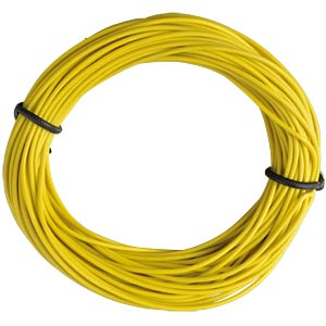 Insulated braided copper wire, 10 m, 1 x 0.14 mm, yellow FREI