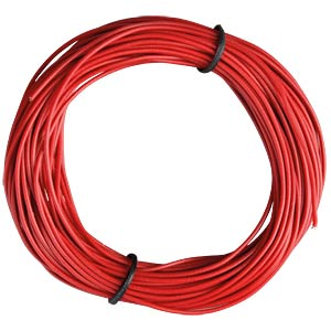 Insulated braided copper wire, 10 m, 1 x 0.14 mm, red FREI