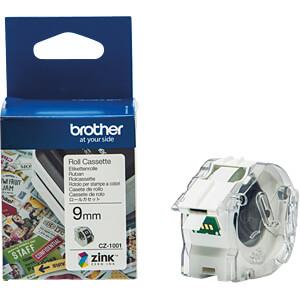 Farbetikettenrolle, weiß, 9 mm BROTHER CZ-1001