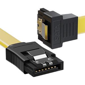 SATA III 6Gb/s Kabel-Set, 2x 0,50m gelb gewinkelt + 4pin auf 2x DELEYCON MK-MK9063