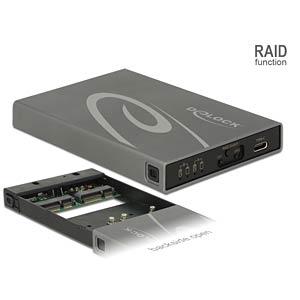 Gehäuse 2 x mSATA > USB 3.1 Type-C™ mit RAID DELOCK 42590