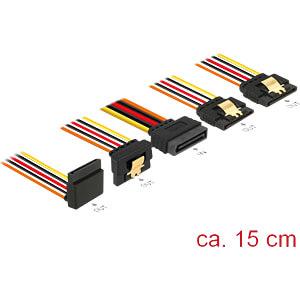 SATA 15 Pin Stecker > 4 x SATA 15 Pin Buchse oben unten 90° 15 c DELOCK 60147