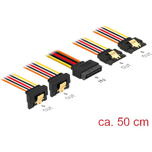 SATA 15 Pin Stecker > SATA 15 Pin Buchse 2 x gerade, 2 x unten 5 DELOCK 60152