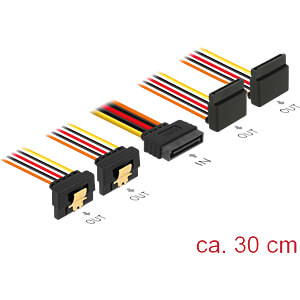 SATA 15 Pin Stecker > SATA 15 Pin Buchse 2 gerade, 2 unten 90° 3 DELOCK 60154