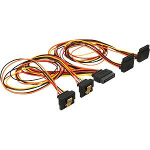 SATA 15 Pin Stecker > SATA 15 Pin Buchse 2 gerade, 2 unten 90° 5 DELOCK 60155
