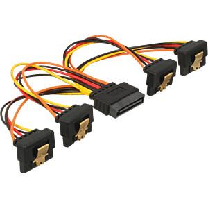 SATA 15 Pin Stecker > SATA 15 Pin Buchse 4 x unten 90° 15 cm DELOCK 60166