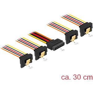 SATA 15 Pin Stecker > SATA 15 Pin Buchse 4 x unten 90° 30 cm DELOCK 60167