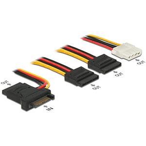 Kabel Power SATA 15pin St > 3x SATA 15pin Bu + 4P Molex Bu 20 cm DELOCK 60171