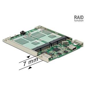 Konverter USB 3.1 C Buchse > 2 x mSATA, RAID DELOCK 62852